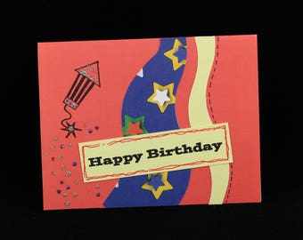July Firecracker Birthday Card, Handmade by MeMe