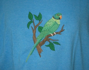 New Indian Ringneck Parakeet\Rose Ringed Parakeet Embroidered T-Shirt Add Name For Free