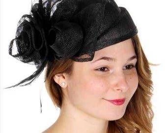 Rose & bow sinamay pillbox hat BLK