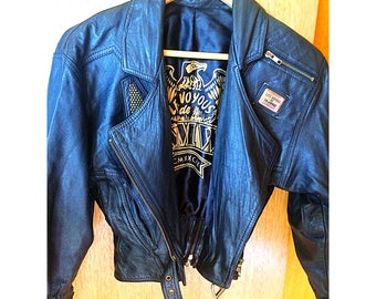 Les Voyous de Tramway designer Incredible fitted, cropped, studded glove soft leather jacket