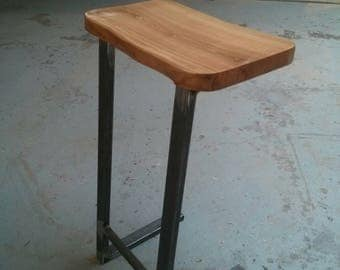 Industrial live edge Cherry and Steel Barstool/Kitchen Stool