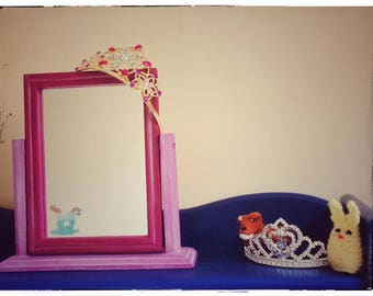 Unicorn-theme-small-free standing-mirror-daughter-neice-granddaughter-birthday-house warming-gift-accessory-purple-white wax