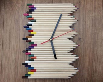 Pencil Crayon Wall Clock