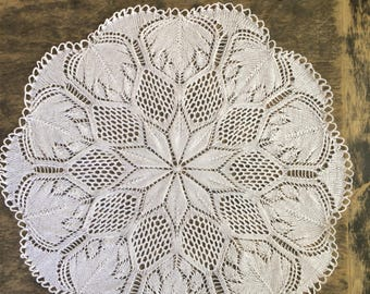 Round Knitted Doily 60 cm
