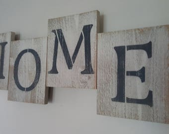 Home Offset Plank Sign Large Distressed Buttermilk