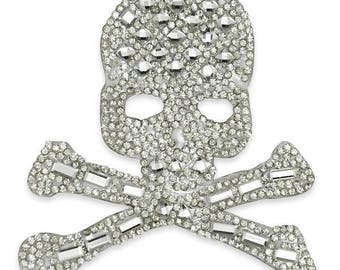 Iron-on Rhinestone Skull and Bones Applique