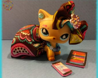 Littlest Pet Shop LPS Custom Clothes + Accessories Lot - Pink, Blue & Brown Swirls Outfit Set + Gift Bag
