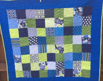 Citron Blue Lime Quilt Lap Quilt Baby Quilt Toddler Quilt Sofa Throw Housewarming Gift Teenager Gift
