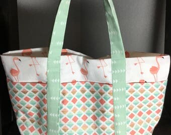 Small Tote Bag with Pockets - Flamingo