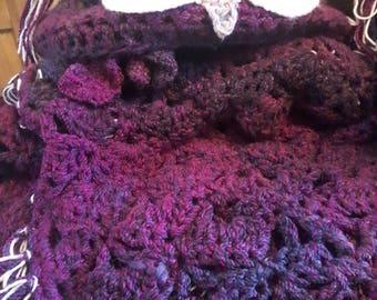 Handmade chunky crochet Owl hooded blanket