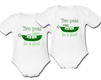 For Twins a Pair of Two Peas in a Pod Baby's Body Suits