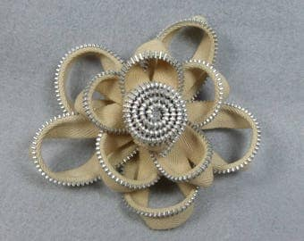 Off White Flower Brooch - Zipper Pin - Upcycled, Recycled, Repurposed