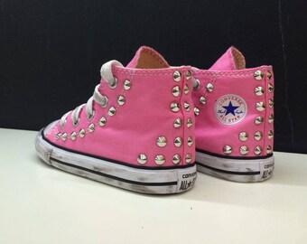 converse all star custom silver studded little girl