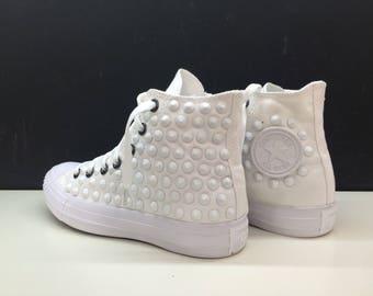 Converse all star studded wedding custom wedding white