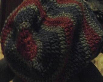Crochet Slouchy Hat / Beanie  Red, Blue, Grey