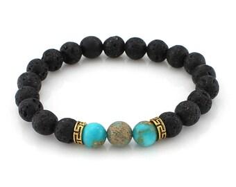 Lava Rock Healing Beaded Bracelet Sea Sediment Gemstone Bracelel Black Calming Charm Bracelet