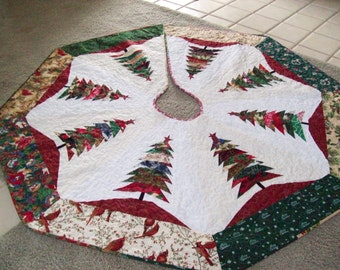 """11 L - 64""""x64""""  Larger Christmas Tree Skirt, Quilted, Reversible"""