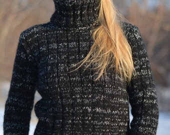 READY hand knitted angora sweater handmade wool jumper fluffy pullover soft sweater Tneck jumper fitted jumper Black marbled  Dukyana