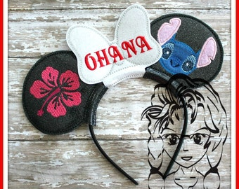 BLuE ALiEN HAWAiiaN GiRL Character (4 Piece) Mr Miss Mouse Ears Headband ~ In the Hoop ~ Downloadable DiGiTaL Machine Emb Design by Carrie