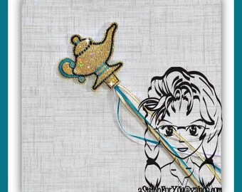 GENiE LAMP ARABiAN Princess ~ Pencil Topper & WaND ~ In the Hoop ~ Downloadable DiGiTaL Machine Embroidery Design by Carrie