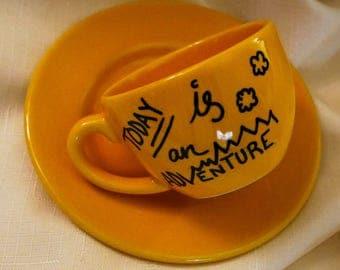 Today is an adventure custom teacup gift custom personalized present ceramic camp cup camping mug custom mug mountains clouds hiking