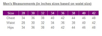 Mens measurements chart waist - UK Sizes