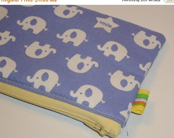SALE SALE SALE - 20% Off Padded Zippy Pouch / Elephant Parade Cosmetic Case / Camera Bag / Card Holder / Cute Kawaii Wallet / Clutch Purse /
