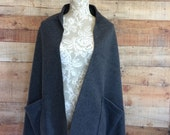 Fleece Shoulder Shawl Wrap Misses Onesize Charcoal Gray 2 Pockets Edge Topstitching Handmade