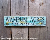 Coordinates Signs, Latitude & Longitude, Custom Signs, Personalized Signs, Nautical, Beach Retreat, Beach Chic, Handpainted, Made To Order!
