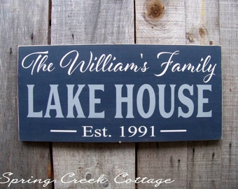 Personalized Custom Wedding Signs Established Lake House Handpainted