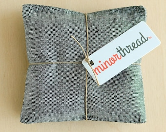 Lavender Sachets in Chambray Linen - Organic Lavender Flower Pillows Set of 2 Grey Chambray Wedding Favors Natural Home Wedding Favors