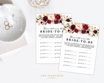 How old was the Bride | Guess the Age | Bridal Shower Game  | Holly Collection, Red, Marsala - Printable PDF file