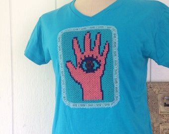V neck T shirt Medium with hamsa application, Turquoise tee with protective eye embellishment, gift for women, Christmas present for her