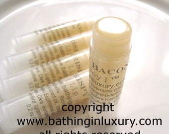 Bacon Lip Balm Vegan  bacon gift for Men or Women mens gift stocking stuffer.  No actual bacon used.  MADE FROM SCRATCH using edible oils