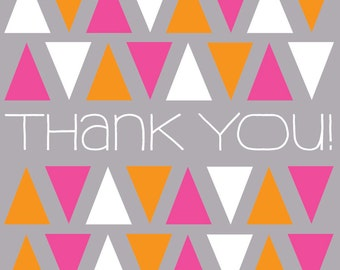 Sweet Thank You Stationery Greeting Card -Thank You Card Blank Inside - Triangles Pattern Thanks - Pink Triangle - Orange White Card A7