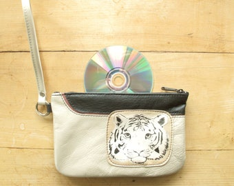 Tiger Recycled Leather Wrist Purse