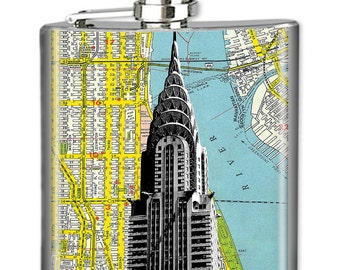 NYC Flask, Photo Flask, Art Flask, Liquor Flask, HIp Flask - Handmade - CHRYSLER BUILDING Map - Sealed in Resin - 4 sizes