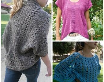 3 Crochet Patterns Discount Sale: Shrug/Cardigan/Sweater/Top- X-Stitch Shrug, Shirttail Top, & Angel Sleeve Top