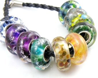 Cremains Loving Pet Memorial Bead - Custom Handmade Lampwork Glass Charm Bracelet Bead - You Pick the Colours - SRA