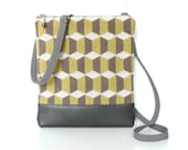 SALE- Small Crossbody Purse, Zipper Sling Bag, Retro Cross Body Bag - Cubicles in Gray, Beige and Chartreuse