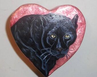 Black Leopard Animal Hand Painted Jewelry Trinket Box OOAK