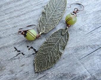 Little Green Apples || Earthy | Organic | Large Bronze Leaf Earrings | Boho | Hippie | Limited Edition | Earrings Under 20 | Green Earrings