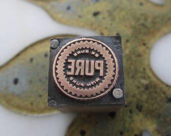 Vintage Letterpress Printers Block Pure Oil Company Logo