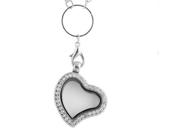 Glass magnetic locket heart necklace for my floating charms origami pendant owl rhinestone wedding living silver with long chain legacy