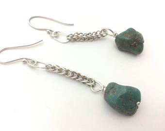 Dramatic earrings with silver loop-in-loop chain and turquoise bead drops on handmade silver earwires
