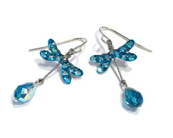 Crystal Indicolite AB Dragonfly Earrings
