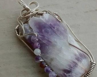 Amethyst Pendant Sterling Wire Wrapped Chevron Amethyst Artisan Jewelry OOAK