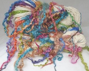 Handspun Art Yarn hand spun Merino wool & handdyed Wensleydale locks, curly yarn, tailspun, textured, curls
