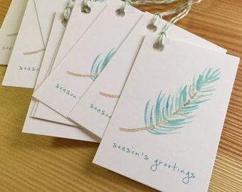Pine Branch Holiday Gift Tags - Season's Greeting Gift Tags - Botanical Watercolor Christmas Gift Tags - Set of 6