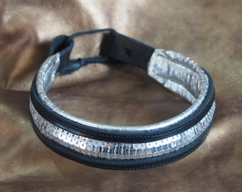 Silver Sequin and Leather Show Brow Band